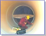 Inspection of high temperature flue duct using ultrasonics